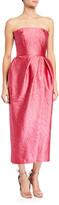 Monique Lhuillier Strapless Slit Brocade Dress