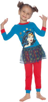 Intimo Girls' Sleep Bottoms PR668 - Wonder Woman Blue & Red Tutu Pajama Set - Toddler