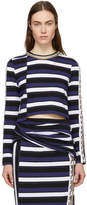 3.1 Phillip Lim Navy Striped Cropped T-Shirt