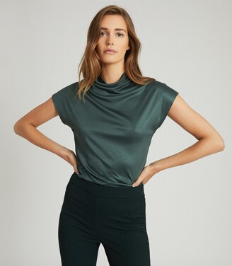 Reiss Pax - High Neck Top in Green