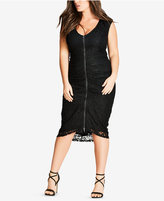 City Chic Trendy Plus Size Shutter Speed Draped Lace Dress