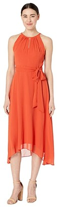 Tahari ASL Petite Sleeveless Chiffon Keyhole Midi (Orange Spice) Women's Dress
