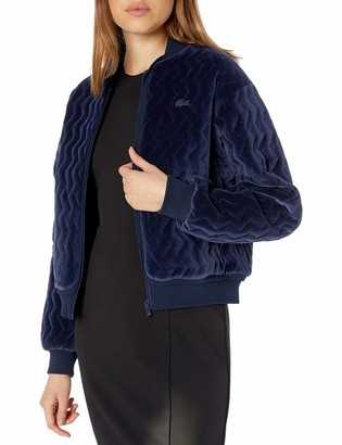 Lacoste Womens Long Sleeve Velvet Pique Bomber Jacket Jacket