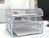 Shine Silver Mesh Filling Front Load 3 Trays Letter File Storage Rack Holder Tray Organiser Desktop Office