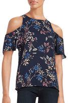 Ivanka Trump Floral Cold-Shoulder Blouse