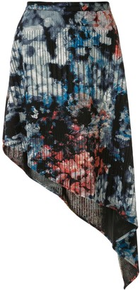 Strateas Carlucci Floral Print Asymmetric Skirt