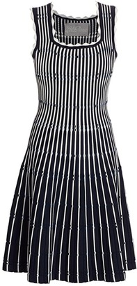 Lela Rose Two-Tone Pinstripe Scalloped Knit Fit-&-Flare Dress