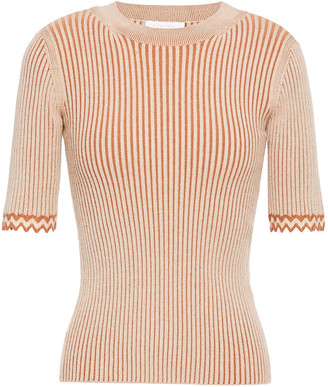 See by Chloe Two-tone Ribbed-knit Top