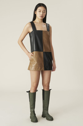 Ganni Lamb Leather Strap Dress