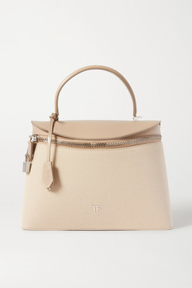 Tom Ford Metro Medium Canvas And Leather Tote - Beige