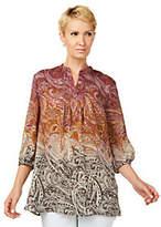 Liz Claiborne New York Ombre Paisley Print Tunic w/Pintucks