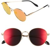 Sonix Women's Ace 51Mm Round Sunglasses - Gold Wire/ Revo Mirror