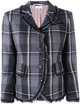 Thom Browne frayed plaid blazer