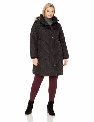 London Fog Women's Plus Size Snap Front Hooded Multi Pattern Quilt Down Coat