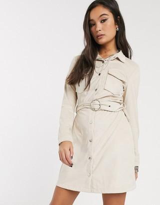 Bershka faux suede belted mini shirt dress in ecru