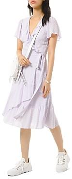 MICHAEL Michael Kors Textured Jacquard Ruffle Wrap Dress