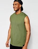 Asos Oversized Sleevless T-Shirt With Step Hem In Khaki