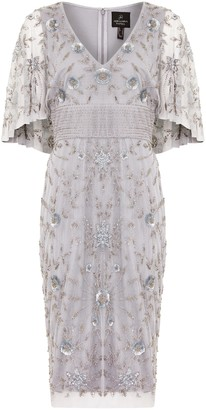 Adrianna Papell Beaded Cape Sleeve Dress