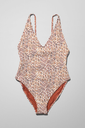 Weekday Avery Coral Swimsuit - White
