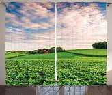SCOCICI Farmhouse Decor Collection Sunset Clouds over a Farm in Southern York County Pennsylvania Nature Scenery Living Room Bedroom Curtain 2 Panels Set Green Red