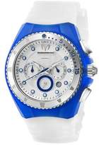 Technomarine Women's Quartz Watch with Mother of Pearl Dial Chronograph Display and White Silicone Strap 111045