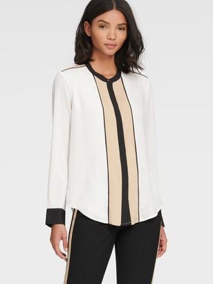 DKNY Contrast Mandarin Collar Blouse
