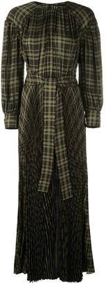 Proenza Schouler Plaid Chiffon Belted Long Dress
