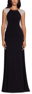 Xscape Evenings Caviar-Beaded Drape-Back Gown
