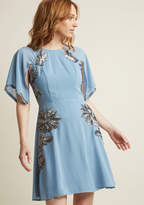 Retro Sequin Dress with Cape Sleeves in M - Other A-line Knee Length by ModCloth