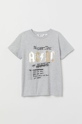 H&M T-shirt with Printed Design - Gray