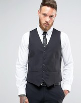 Farah Skinny Waistcoat In Black