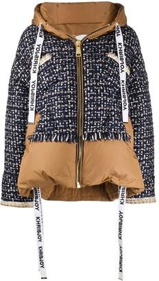 KHRISJOY Tweed-Panel Puffer Jacket