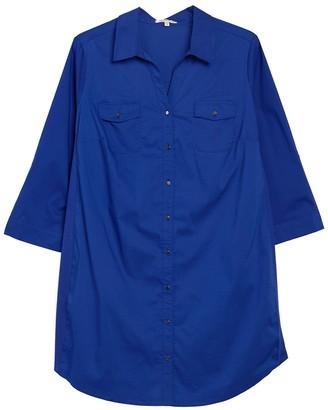 Tash + Sophie Solid Pocket Shirt Dress (Plus Size)
