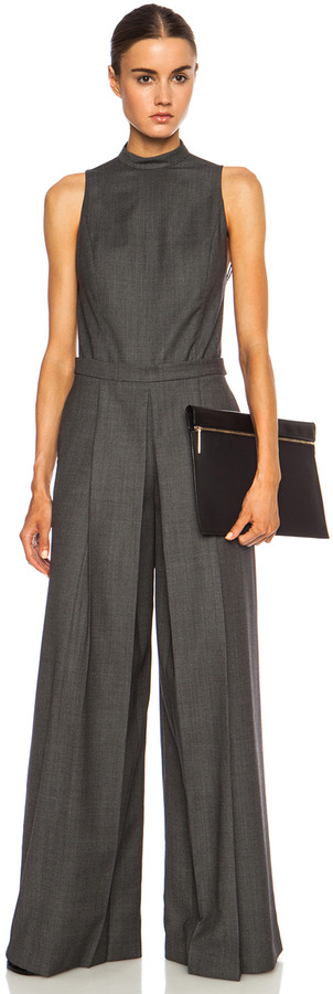Alexander Wang Backless Wool Romper with Boxpleat Leg in Black & White