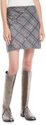 Brunello Cucinelli Straight Plaid Wool Mini Skirt w/ Paillettes