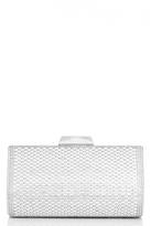 Quiz Silver Shimmer And Diamante Box Clutch Bag