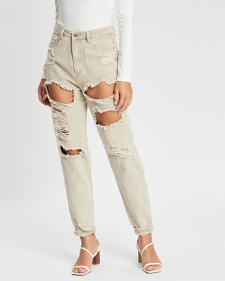 Missguided Riot High Rise Extreme Ripped Mum Jeans