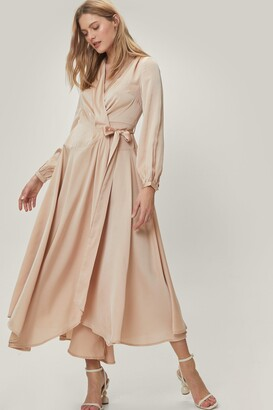 Nasty Gal Womens Champagne Satin Wrap Maxi Dress with V-Neckline