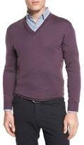 Ermenegildo Zegna High-Performance Merino Wool V-Neck Sweater, Lavender