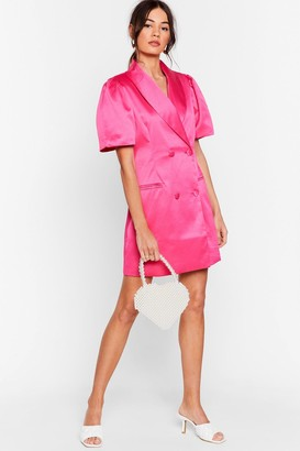 Nasty Gal Womens We're Busy Satin Blazer Dress - Hot Pink