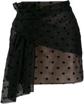 No.21 polka-dot mesh mini skirt