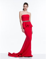 Terani Couture 151E0447A Strapless Peplum Trumpet Gown
