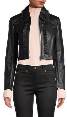 Maje Ruffled Leather Cropped Jacket