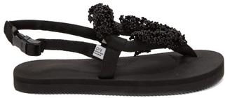 Cecilie Bahnsen X Suicoke Kat Flower-beaded Sandals - Black