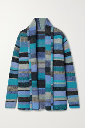 The Elder Statesman Striped Cashmere Cardigan - Blue