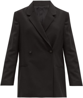 Totême Double-breasted Crepe Jacket - Black