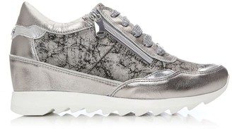 Moda In Pelle Blossome Pewter Metallic Leather
