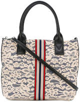 Pinko embellished brand lace tote bag