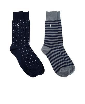 Polo Ralph Lauren 2 Pack Stripe Polka Dot Socks Colour: NAVY AND GREY,