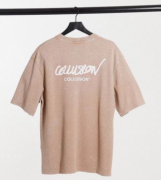 Collusion Unisex oversized t-shirt with logo print in washed pique tan